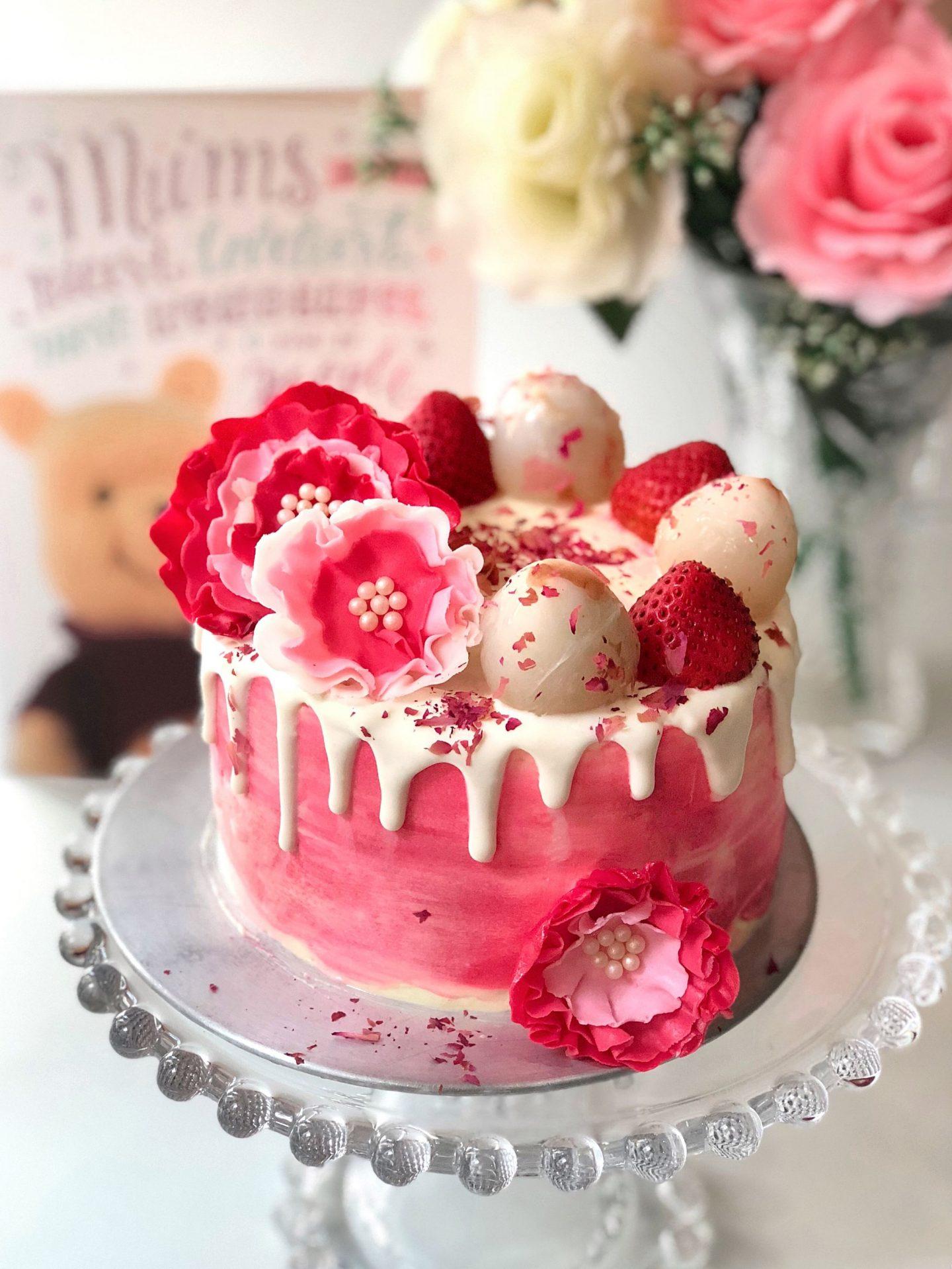 Fresh Lychee Rose Cake with Cream Cheese