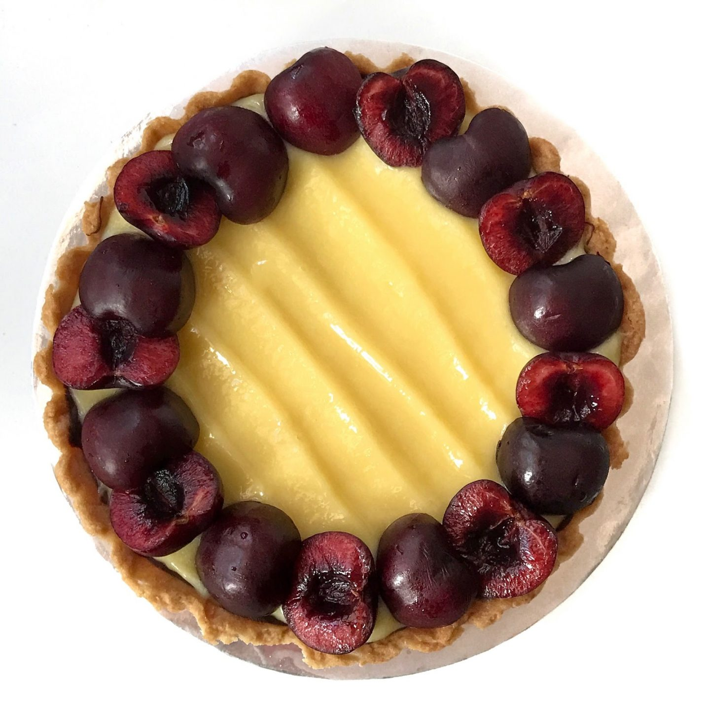 Lemon Curd Tart with cherries