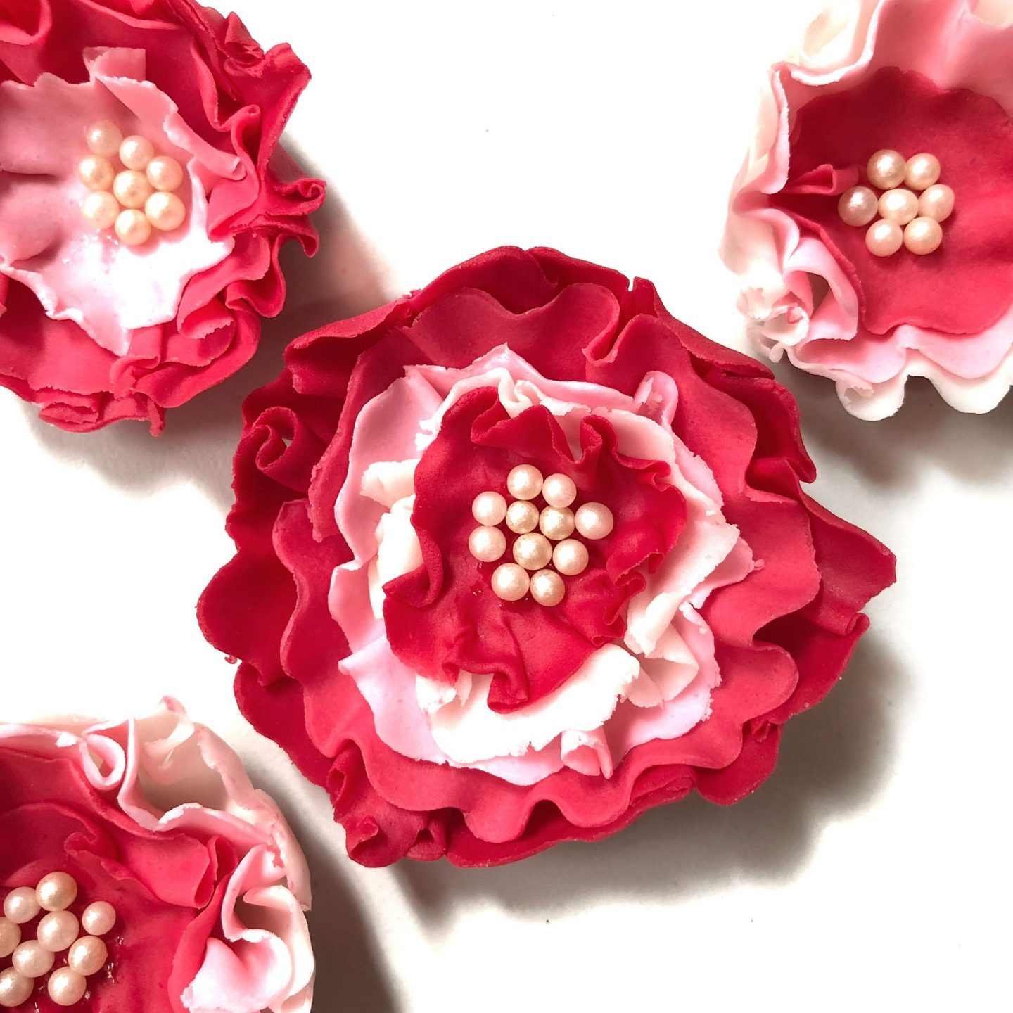 Fondant Flowers Pretty Pink Ombre Flowers Sherbakes