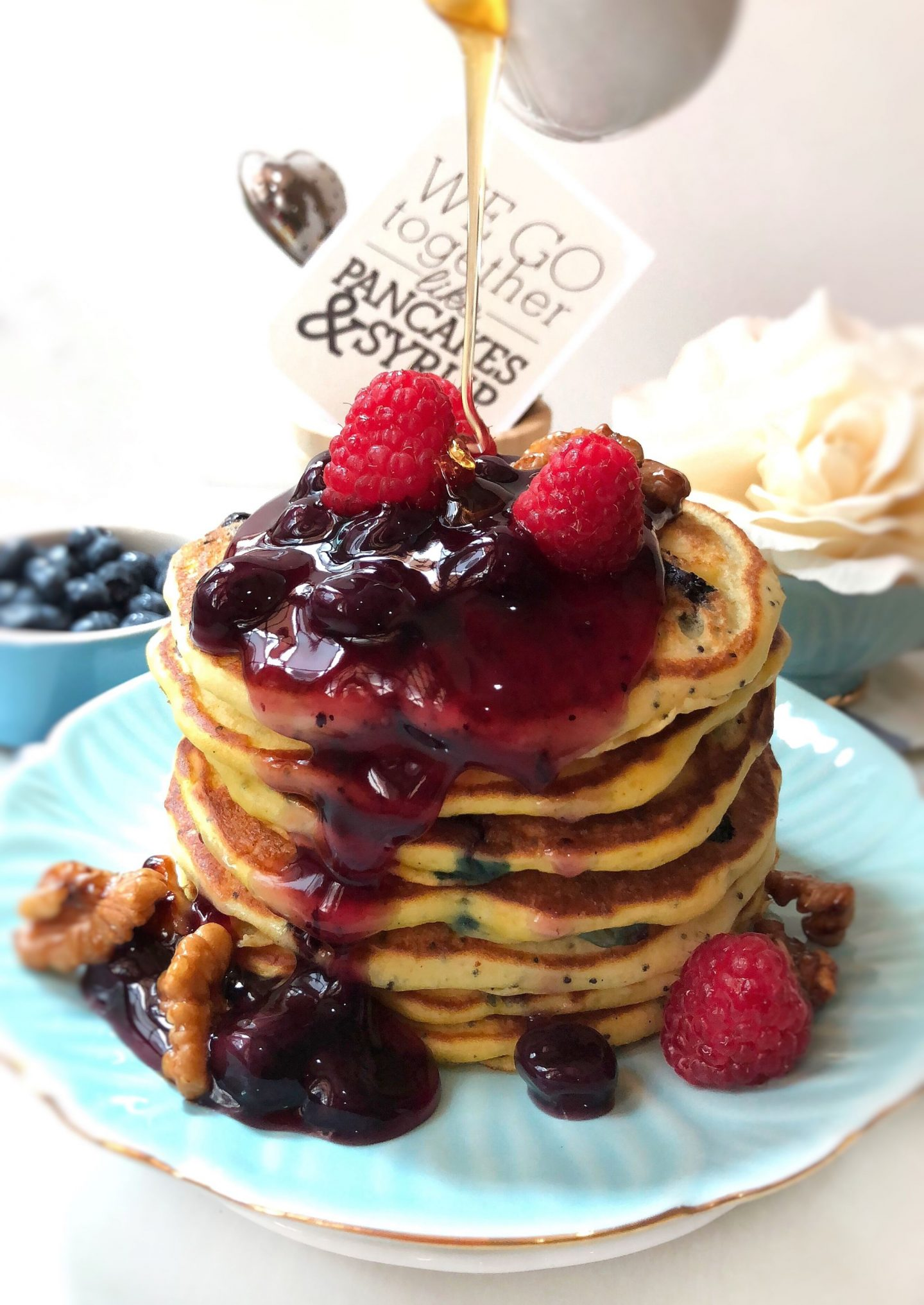 Blueberry Poppyseed Pancakes with Blueberry Sauce