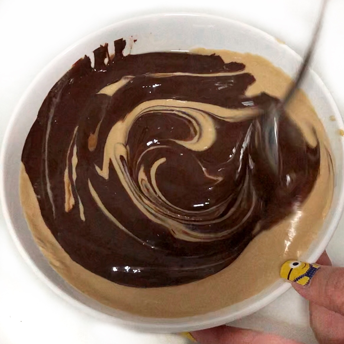 Mixing the chocolate