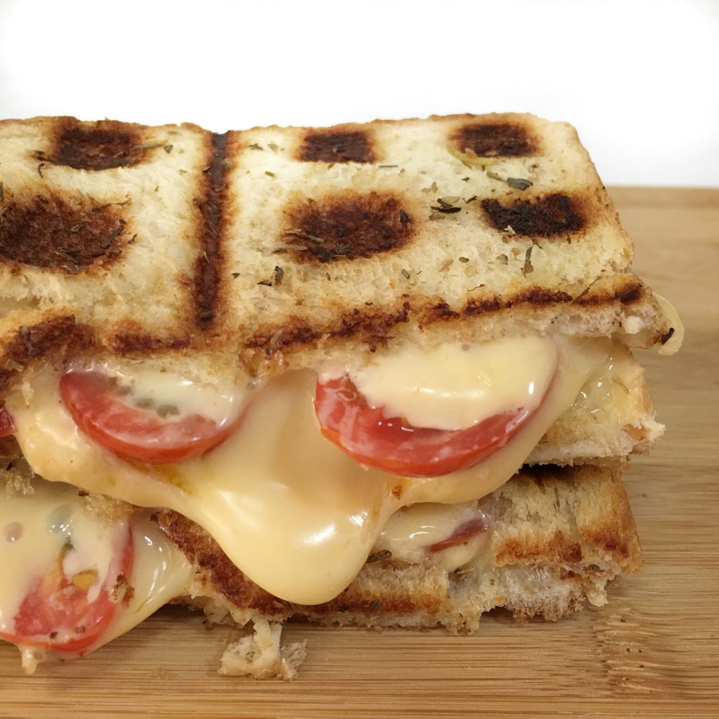 Cheese and tomato waffle