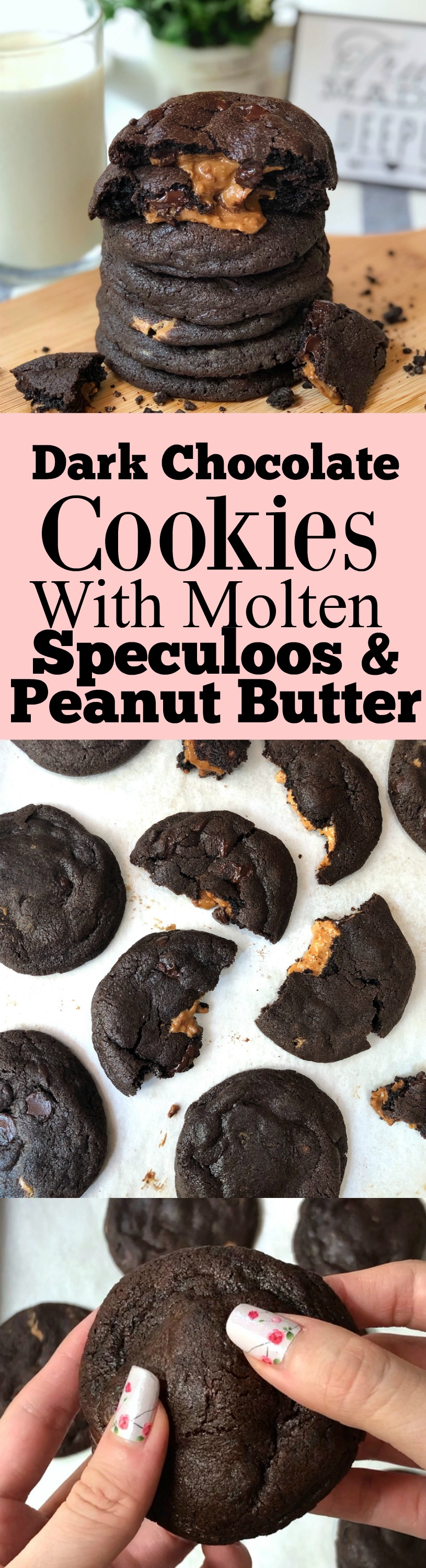 Dark Chocolate Cookies with Molten Speculoos or Peanut Butter
