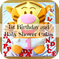 1st birthday and baby shower cakes