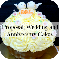proposal, wedding and anniversary cakes